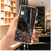 Sequins Decorative Clear Plastic Anti Damage Mobile Cover For Huawei Phone Series - Black