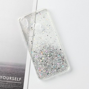 Sequins Decorative Clear Plastic Anti Damage Mobile Cover For Oppo Phone Series - White