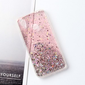 Sequins Decorative Clear Plastic Anti Damage Mobile Cover For Oppo Phone Series - Pink