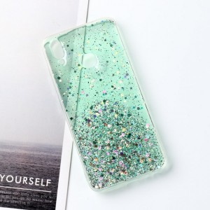 Sequins Decorative Clear Plastic Anti Damage Mobile Cover For Oppo Phone Series - Green