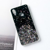 Sequins Decorative Clear Plastic Anti Damage Mobile Cover For Oppo Phone Series - Black