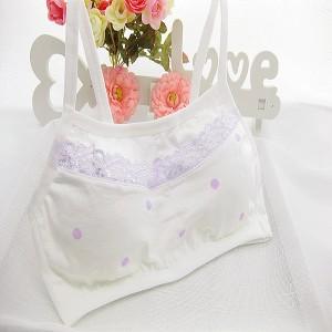 Girls Pure Cotton Vest Dot Design Bra - White Purple
