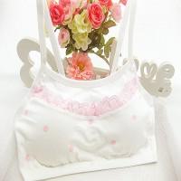 Girls Pure Cotton Vest Dot Design Bra - White Pink