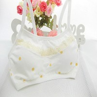 Girls Pure Cotton Vest Dot Design Bra - White Skin