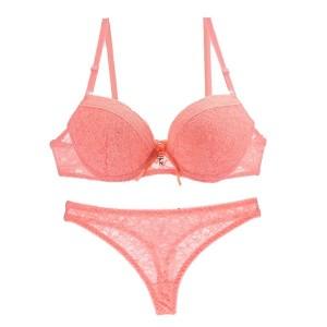 Women Sexy Bra Lingerie Set Lace Bralette Transparent Thongs - Orange