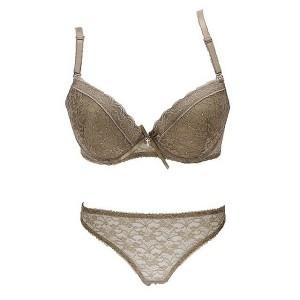 Women Sexy Bra Lingerie Set Lace Bralette Transparent Thongs - Khaki