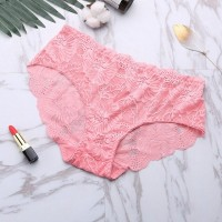 Sexy Lace Seamless Soft Breathable High Waist Female Panties - Rose Pink