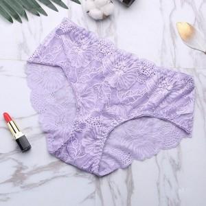 Sexy Lace Seamless Soft Breathable High Waist Female Panties - Light Purple