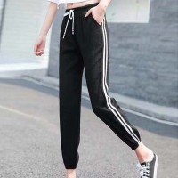 String Waist Elastic Narrow Bottom Casual Trouser - Black