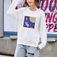 Graphical Printed Round Neck Fashion Wear Jumper Top - White