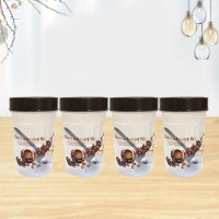 4 Pieces Air Tight High-Quality Food Storage Jar with Spoons - 300 ml
