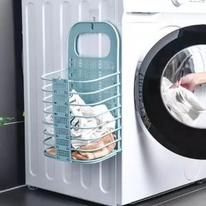 Foldable Wall Hanging Bathroom Laundry Basket - Light Green
