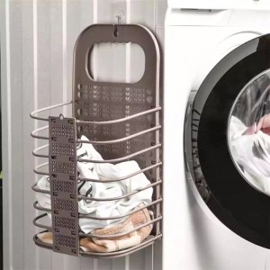 Foldable Wall Hanging Bathroom Laundry Basket - Dark Brown