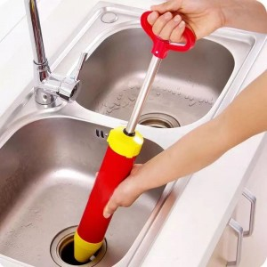 Powerful Toilet Sink Pipe Vacuum Dredge Suction Cleaner Plunger - Red Yellow