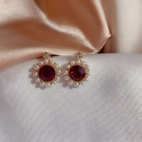Girls Retro Crystal Pearl Round Wild Earrings - Red