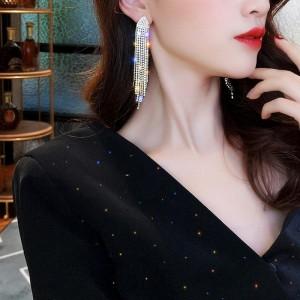 Fashion Diamond Geometric Tassel Earrings - Golden