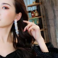 Fashion Diamond Geometric Tassel Earrings - Silver