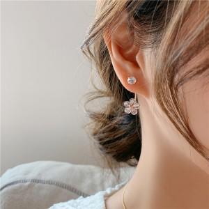 Girls Crystal Flower Fashion Earrings - Transparent
