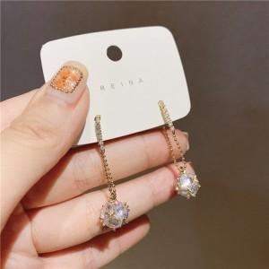 Fashionable Simple Ladies Crystal Tassel Earrings-Golden