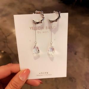 Simple Ladies Wild Crystal Earrings - Silver