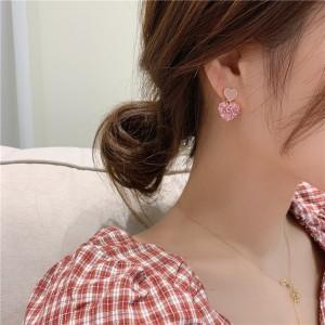 Girls Fashion Rhinestone Simple Heart Earrings - Pink
