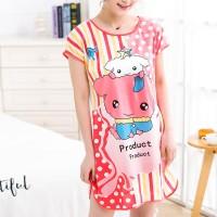 Round Neck Loose Sleepwear Women Night Sleep Pajama Top - Barbie Pink
