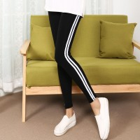Striped Contrast Narrow Bottom Body Fitted Trousers - Black