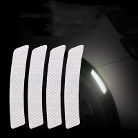 4 Pcs Car Door Opening Reminder Reflective Warning Stickers - Gray