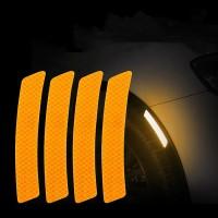 4 Pcs Car Door Opening Reminder Reflective Warning Stickers - Orange