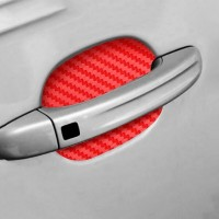 4Pcs Set Car Door Sticker Carbon Fiber Scratches Resistant Cover - Red