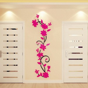 Flower DIY 3D Acrylic Crystal Wall Stickers For Home TV Background Decoration - Hot Pink