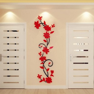 Flower DIY 3D Acrylic Crystal Wall Stickers For Home TV Background Decoration - Red