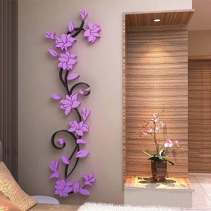 Flower DIY 3D Acrylic Crystal Wall Stickers For Home TV Background Decoration - Purple