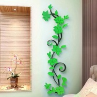 Flower DIY 3D Acrylic Crystal Wall Stickers For Home TV Background Decoration - Green