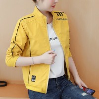 Contrast Zipper Closure Full Sleeves Nylon Outwear Jacket - Yellow