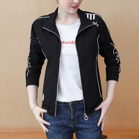 Contrast Zipper Closure Full Sleeves Nylon Outwear Jacket - Black