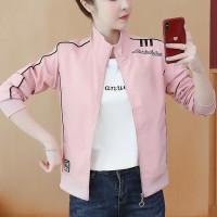Contrast Zipper Closure Full Sleeves Nylon Outwear Jacket - Pink