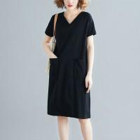 V Neck Sober Short Sleeves Mini Dress
