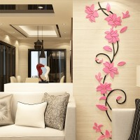 Flower DIY 3D Acrylic Crystal Wall Stickers For Home TV Background Decoration - Pink