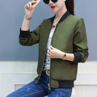 Zipper Closure Full Sleeves Nylon Outwear Jacket - Green