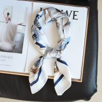 Silk Printed Cute Neck Knotted Women Fashion Scarf - White