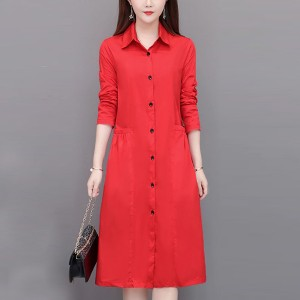Shirt Collar Button Up Full Sleeves Formal Dress - Red