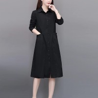 Shirt Collar Button Up Full Sleeves Formal Dress - Black