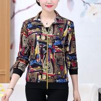 Floral Printed Bohemian Outwear Shirt Collar Zipper Closure Jacket - Brown Variation