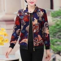 Bohemian Floral Printed Shirt Collar Zipper Closure Outwear Jacket - Red Variation
