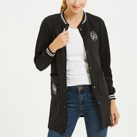 Button Closure Full Sleeves Outwear Long Jacket - Black
