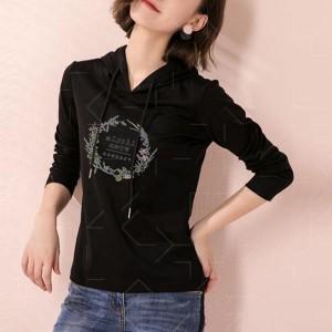 Floral Printed Hoodie Full Sleeves Top - Black