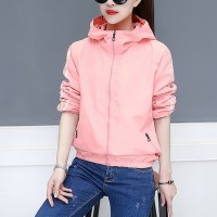Sports Wear Contrast Zipper Closure Hoodie Wear Jacket - Pink