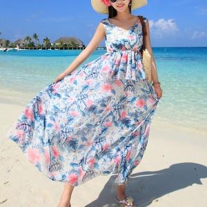 Printed Sleeveless Beach Wear Chiffon Full Maxi Dress - Blue
