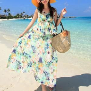 Printed Sleeveless Beach Wear Chiffon Full Maxi Dress - Green